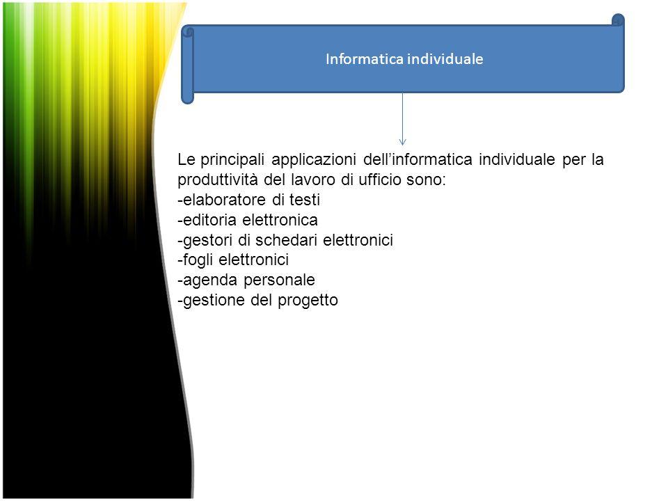 Informatica individuale Le principali applicazioni dell'informatica individuale per la produttività del lavoro di ufficio sono: -elaboratore di testi -editoria elettronica -gestori di schedari elettronici -fogli elettronici -agenda personale -gestione del progetto