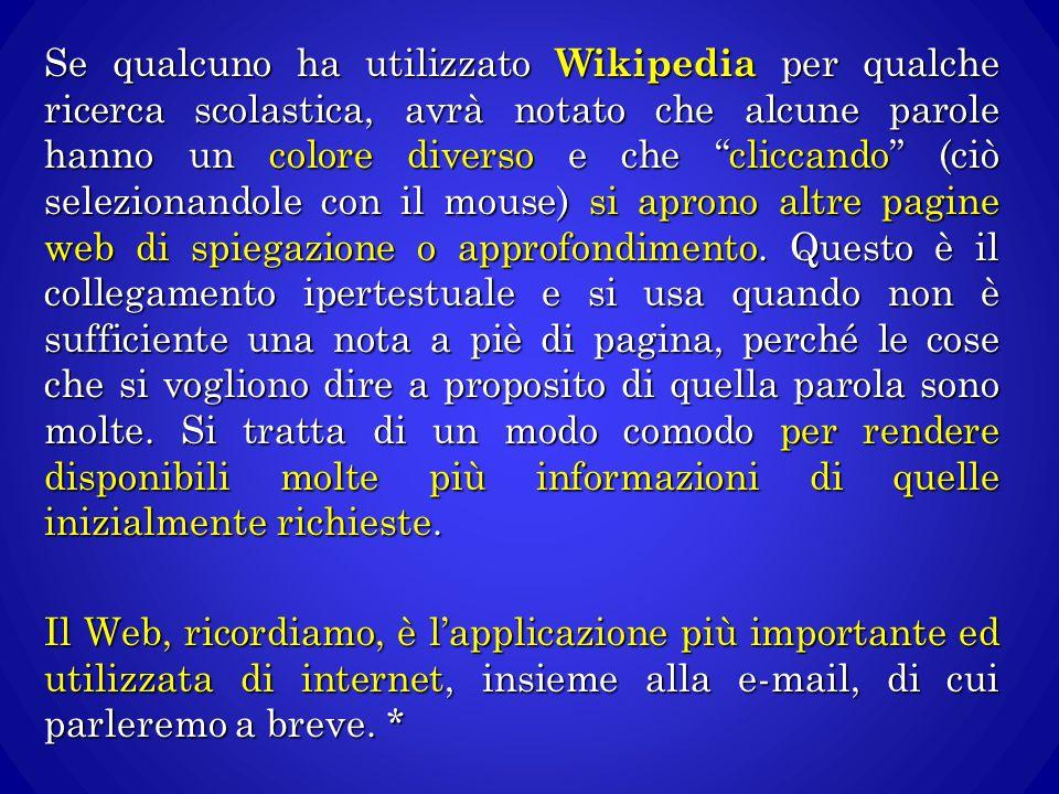 """Se qualcuno ha utilizzato Wikipedia per qualche ricerca scolastica, avrà notato che alcune parole hanno un colore diverso e che """"cliccando"""" (ciò selez"""