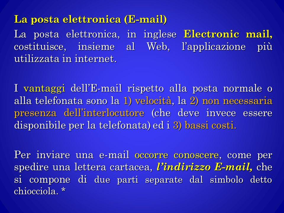 La posta elettronica (E-mail) La posta elettronica, in inglese Electronic mail, costituisce, insieme al Web, l'applicazione più utilizzata in internet