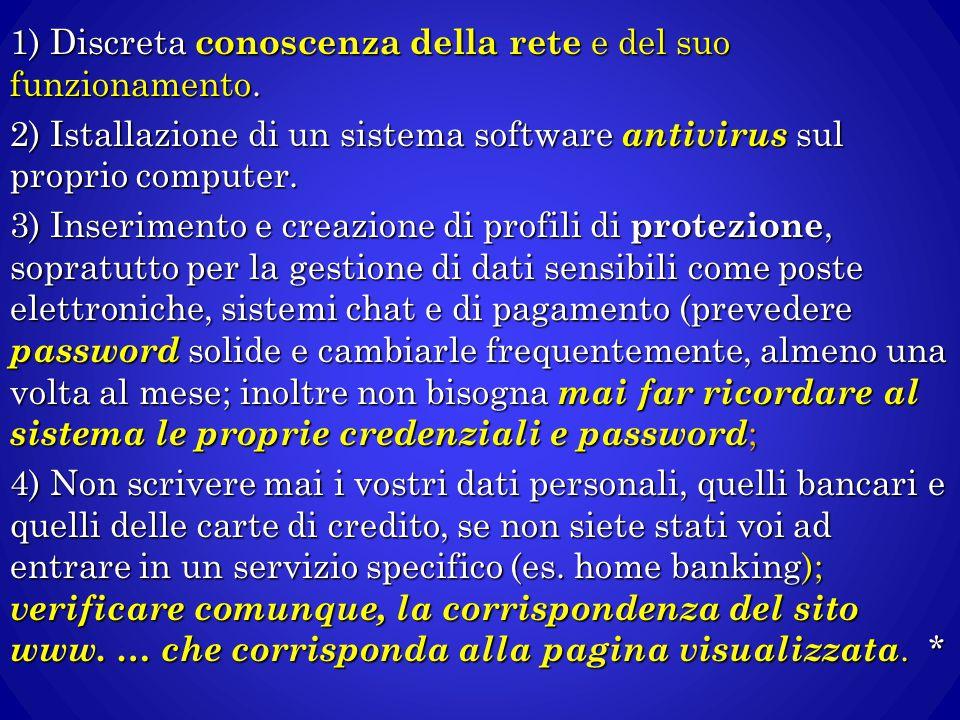 1) Discreta conoscenza della rete e del suo funzionamento. 2) Istallazione di un sistema software antivirus sul proprio computer. 3) Inserimento e cre