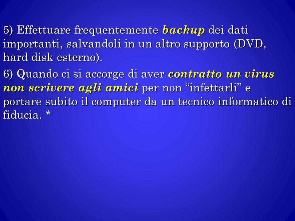 5) Effettuare frequentemente backup dei dati importanti, salvandoli in un altro supporto (DVD, hard disk esterno). 6) Quando ci si accorge di aver con