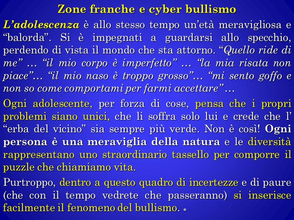 """Zone franche e cyber bullismo L'adolescenza è allo stesso tempo un'età meravigliosa e """"balorda"""". Si è impegnati a guardarsi allo specchio, perdendo di"""