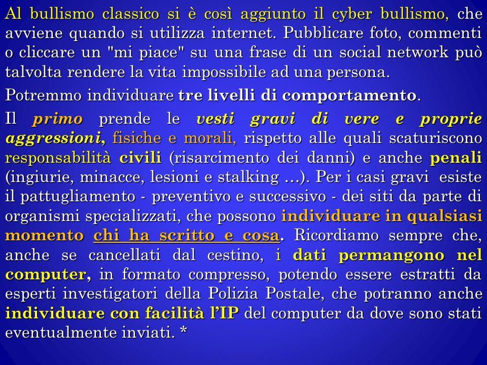 Al bullismo classico si è così aggiunto il cyber bullismo, che avviene quando si utilizza internet. Pubblicare foto, commenti o cliccare un