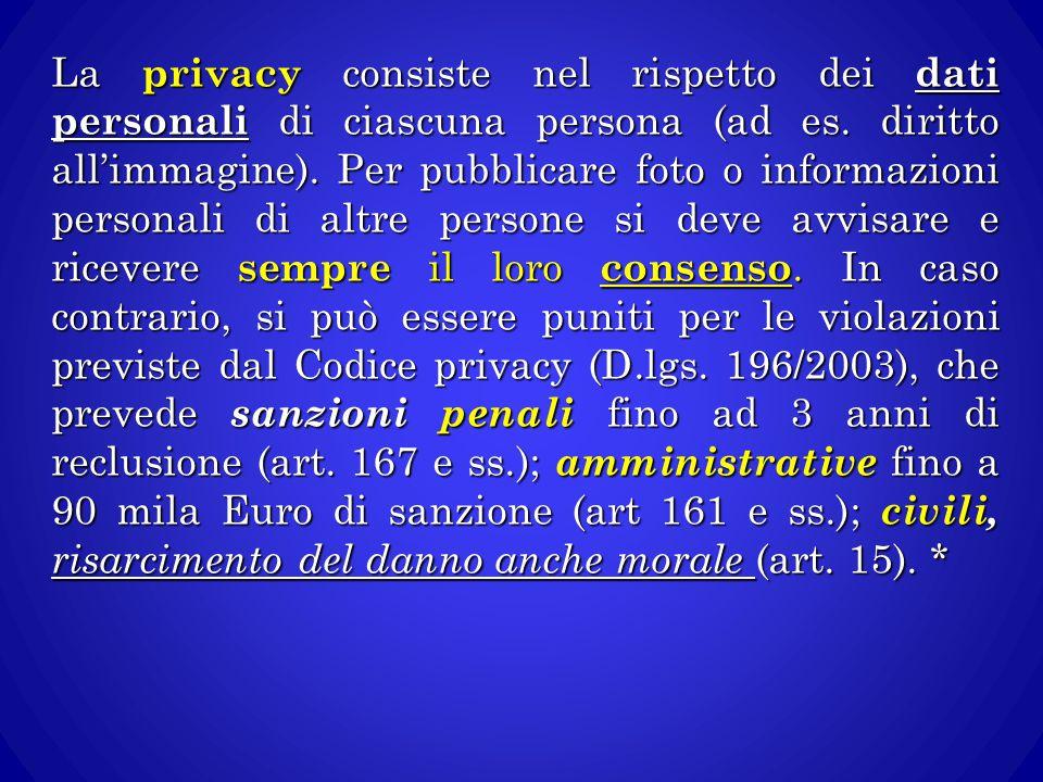 La privacy consiste nel rispetto dei dati personali di ciascuna persona (ad es. diritto all'immagine). Per pubblicare foto o informazioni personali di