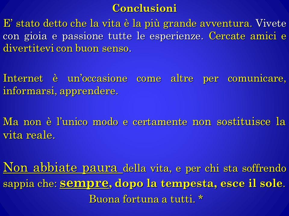 Conclusioni E' stato detto che la vita è la più grande avventura. Vivete con gioia e passione tutte le esperienze. Cercate amici e divertitevi con buo