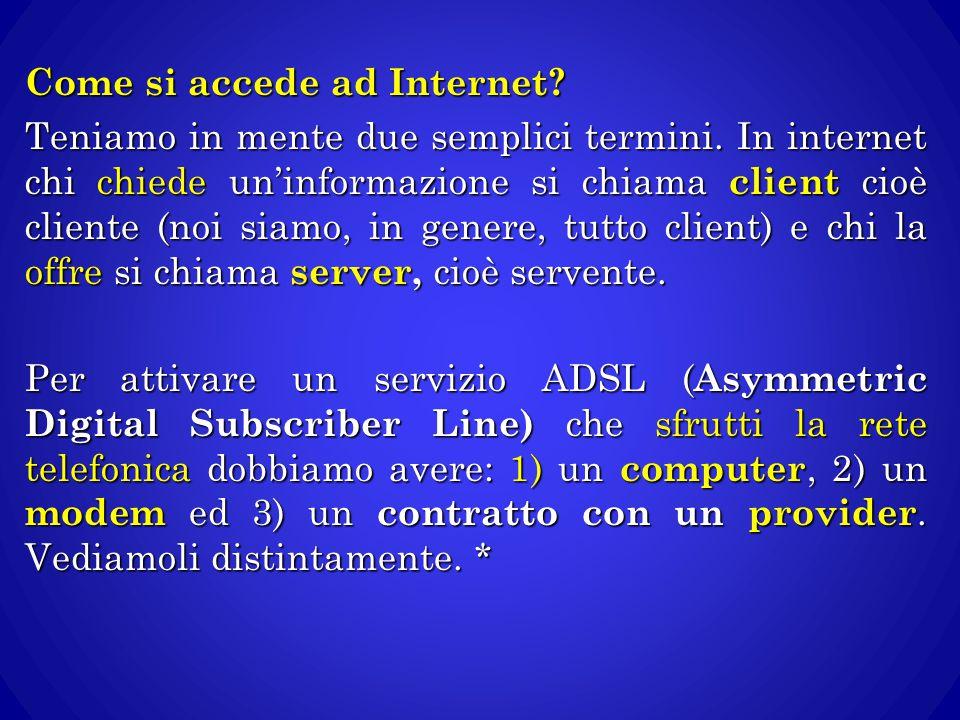 Come si accede ad Internet? Teniamo in mente due semplici termini. In internet chi chiede un'informazione si chiama client cioè cliente (noi siamo, in