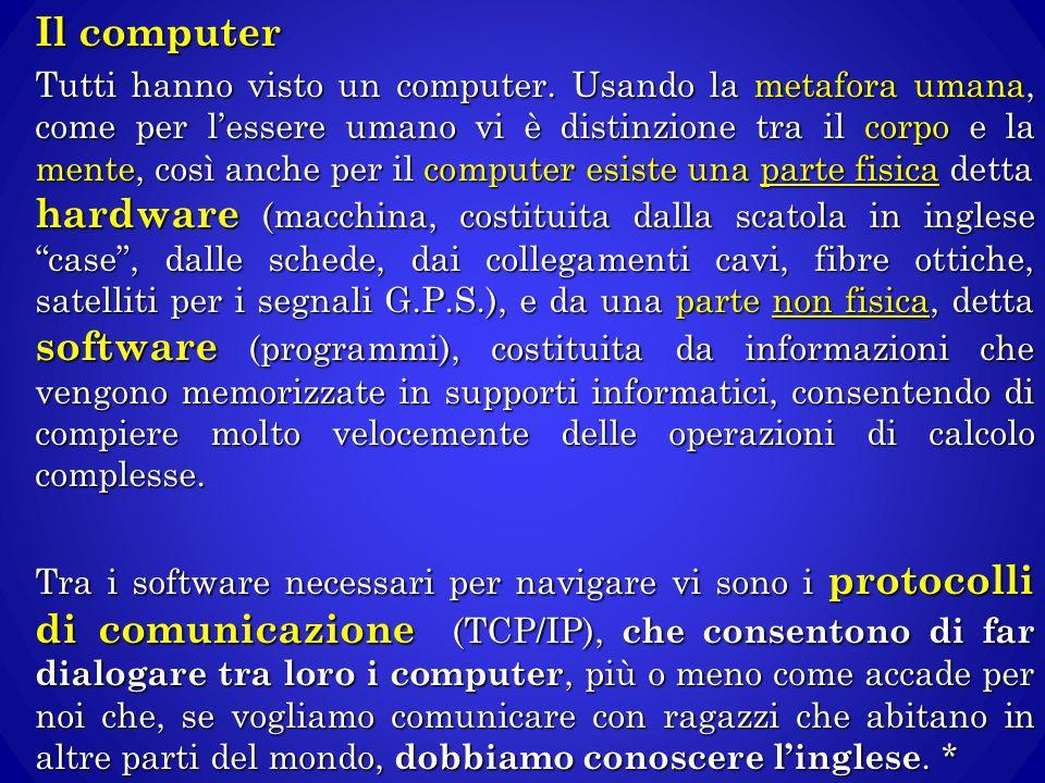 Il computer Tutti hanno visto un computer. Usando la metafora umana, come per l'essere umano vi è distinzione tra il corpo e la mente, così anche per