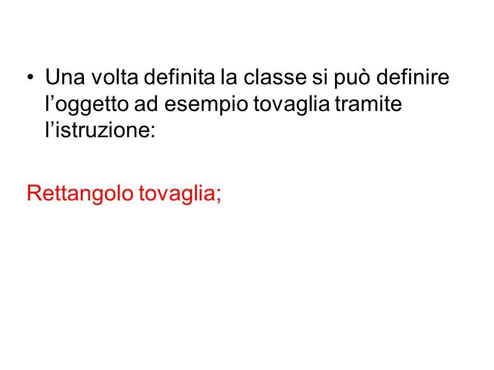 Una volta definita la classe si può definire l'oggetto ad esempio tovaglia tramite l'istruzione: Rettangolo tovaglia;