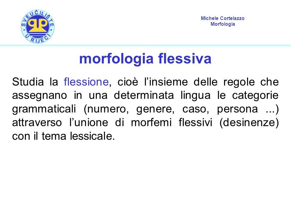Michele Cortelazzo Morfologia morfologia flessiva Studia la flessione, cioè l'insieme delle regole che assegnano in una determinata lingua le categorie grammaticali (numero, genere, caso, persona...) attraverso l'unione di morfemi flessivi (desinenze) con il tema lessicale.