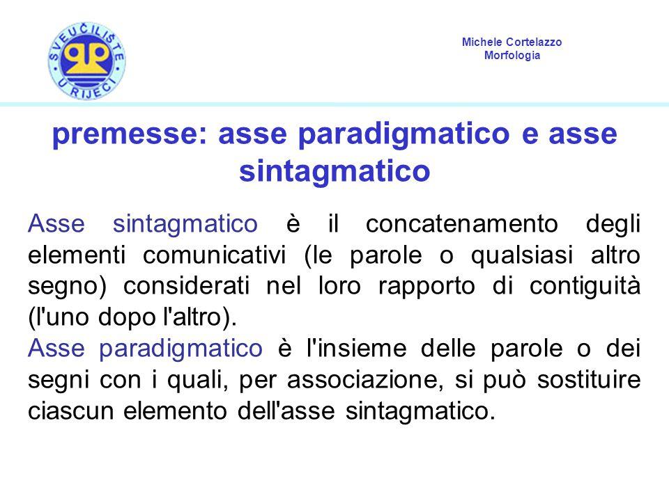 Michele Cortelazzo Morfologia premesse: asse paradigmatico e asse sintagmatico Asse sintagmatico è il concatenamento degli elementi comunicativi (le parole o qualsiasi altro segno) considerati nel loro rapporto di contiguità (l uno dopo l altro).