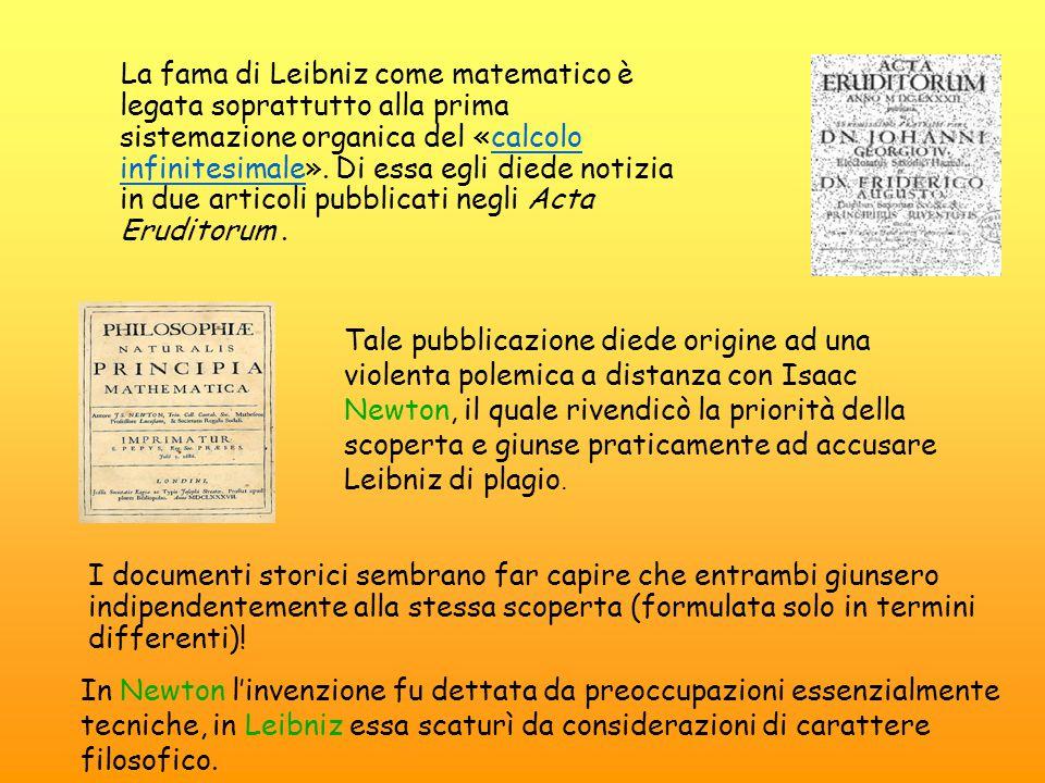 La fama di Leibniz come matematico è legata soprattutto alla prima sistemazione organica del «calcolo infinitesimale». Di essa egli diede notizia in d