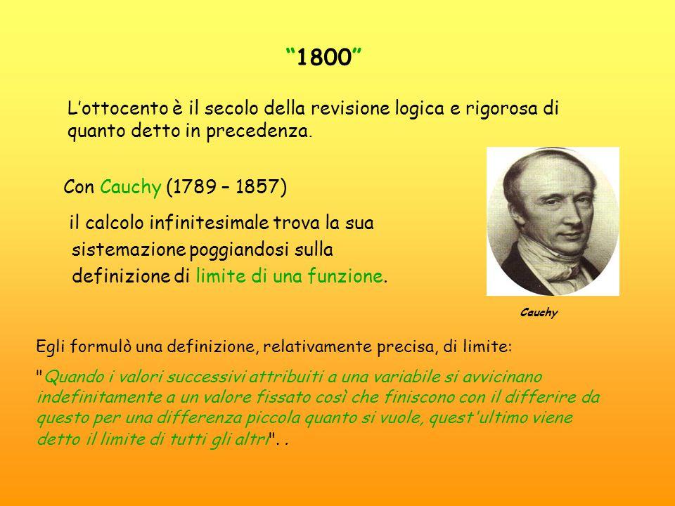 Con Cauchy (1789 – 1857) il calcolo infinitesimale trova la sua sistemazione poggiandosi sulla definizione di limite di una funzione.