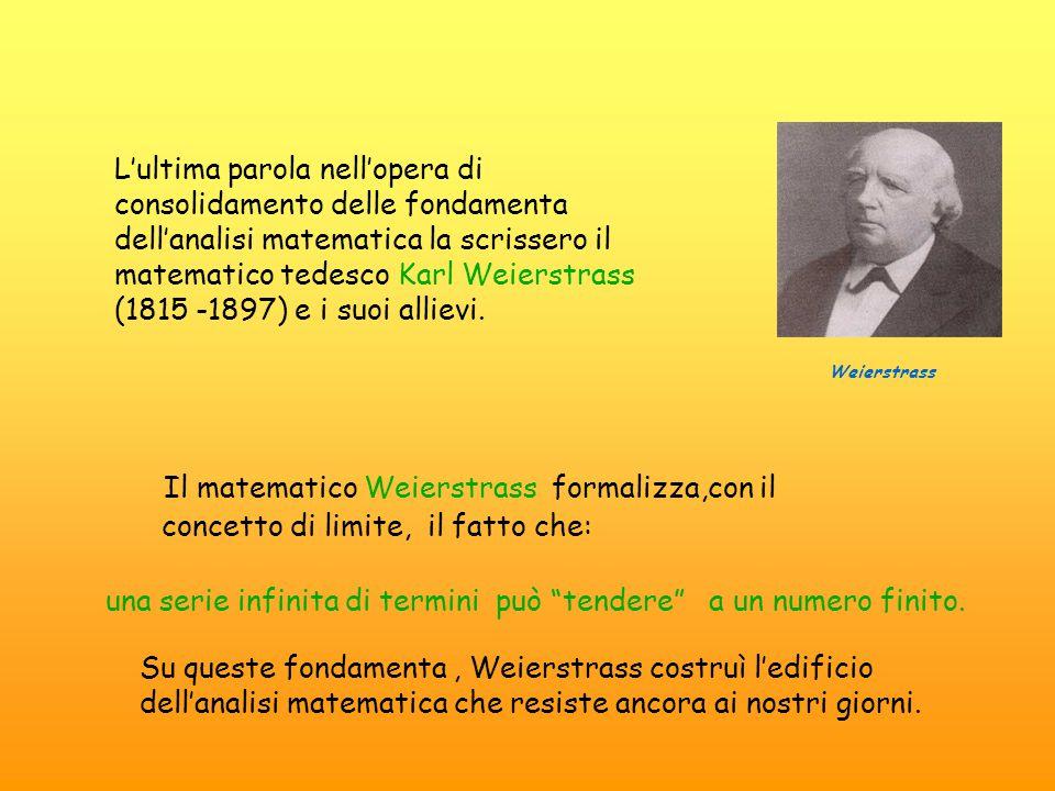 """Il matematico Weierstrass formalizza,con il concetto di limite, il fatto che: una serie infinita di termini può """"tendere"""" a un numero finito. L'ultima"""