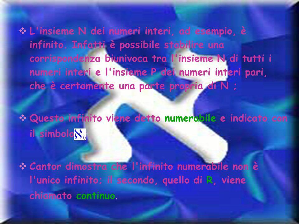  L'insieme N dei numeri interi, ad esempio, è infinito. Infatti è possibile stabilire una corrispondenza biunivoca tra l'insieme N di tutti i numeri
