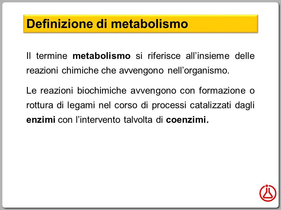 Il termine metabolismo si riferisce all'insieme delle reazioni chimiche che avvengono nell'organismo.