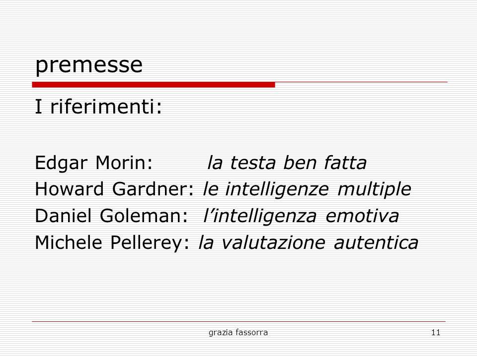 grazia fassorra11 premesse I riferimenti: Edgar Morin: la testa ben fatta Howard Gardner: le intelligenze multiple Daniel Goleman: l'intelligenza emotiva Michele Pellerey: la valutazione autentica