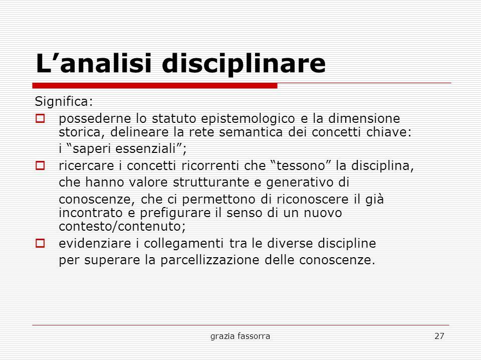 grazia fassorra27 L'analisi disciplinare Significa:  possederne lo statuto epistemologico e la dimensione storica, delineare la rete semantica dei co