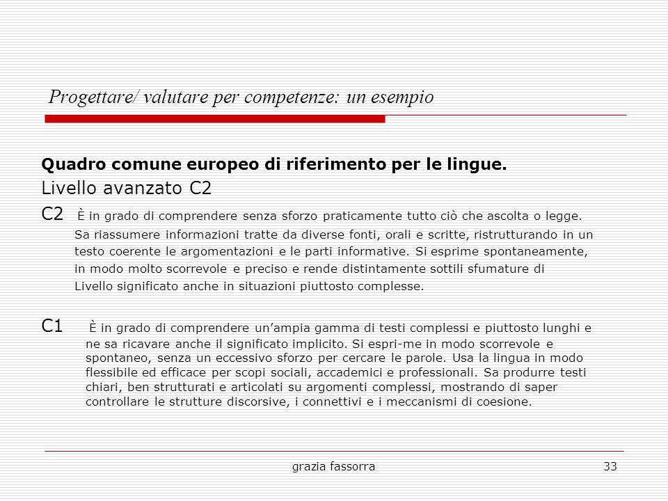 grazia fassorra33 Progettare/ valutare per competenze: un esempio Quadro comune europeo di riferimento per le lingue. Livello avanzato C2 C2 È in grad