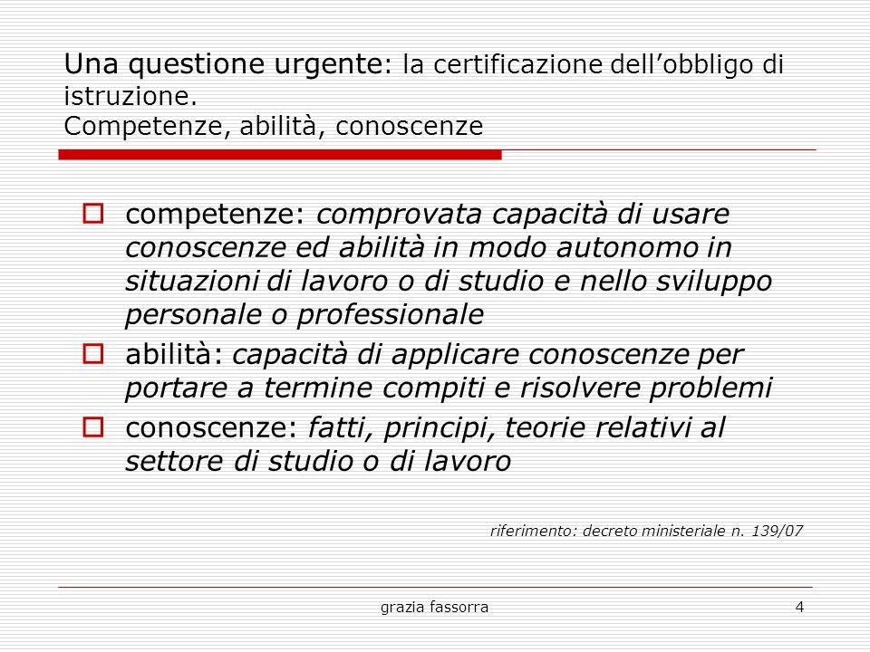 grazia fassorra15 la progettazione per competenze Alcune definizioni (…nella scuola):  comportamento direttamente osservabile (Bertocchi);  livello effettivamente raggiunto nella esecuzione di un compito (Boscolo);  ciò che l'allievo è in grado di fare (Mager);  livello di performance (grado di riuscita individuale) (Guilbert).