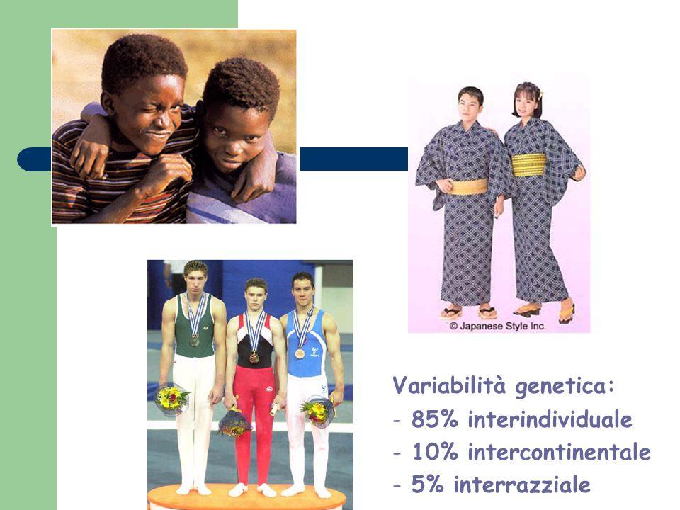 Variabilità genetica: - 85% interindividuale - 10% intercontinentale - 5% interrazziale