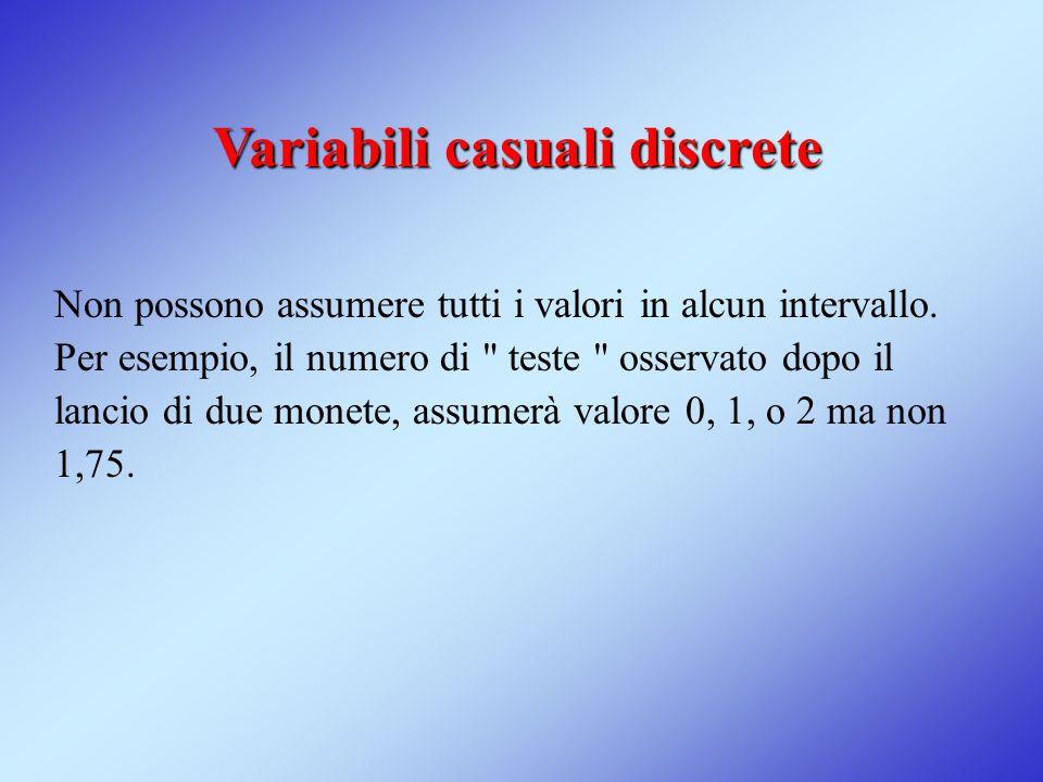 Variabili casuali discrete Non possono assumere tutti i valori in alcun intervallo. Per esempio, il numero di