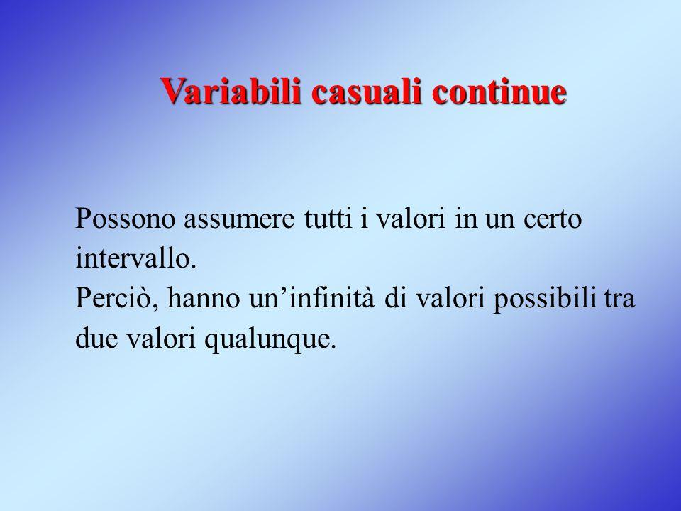 Variabili casuali continue Possono assumere tutti i valori in un certo intervallo. Perciò, hanno un'infinità di valori possibili tra due valori qualun