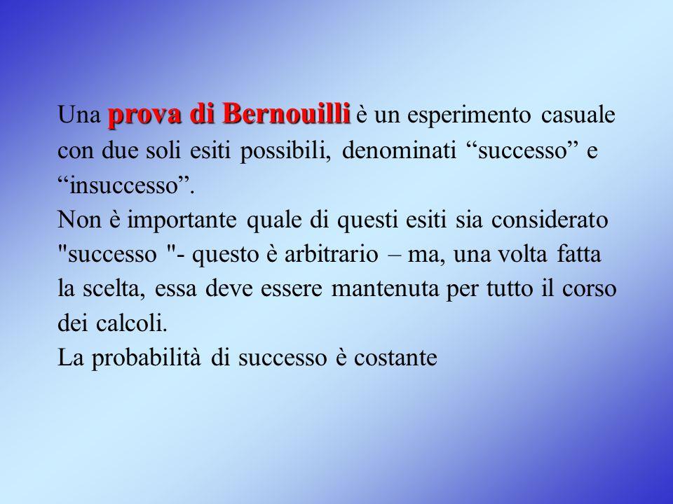 """prova di Bernouilli Una prova di Bernouilli è un esperimento casuale con due soli esiti possibili, denominati """"successo"""" e """"insuccesso"""". Non è importa"""