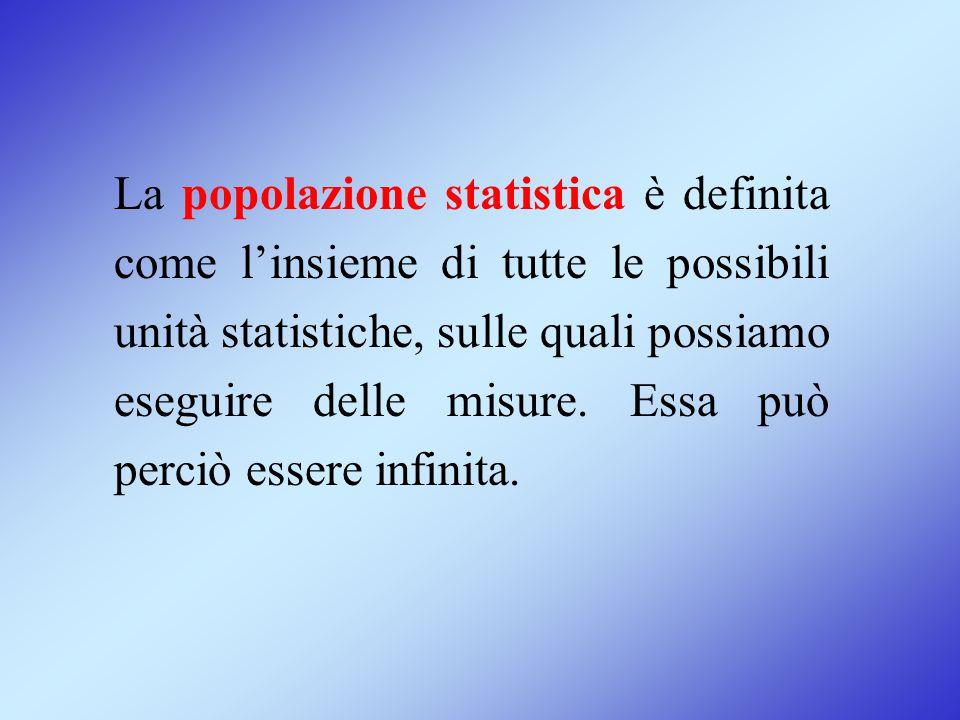 La popolazione statistica è definita come l'insieme di tutte le possibili unità statistiche, sulle quali possiamo eseguire delle misure. Essa può perc