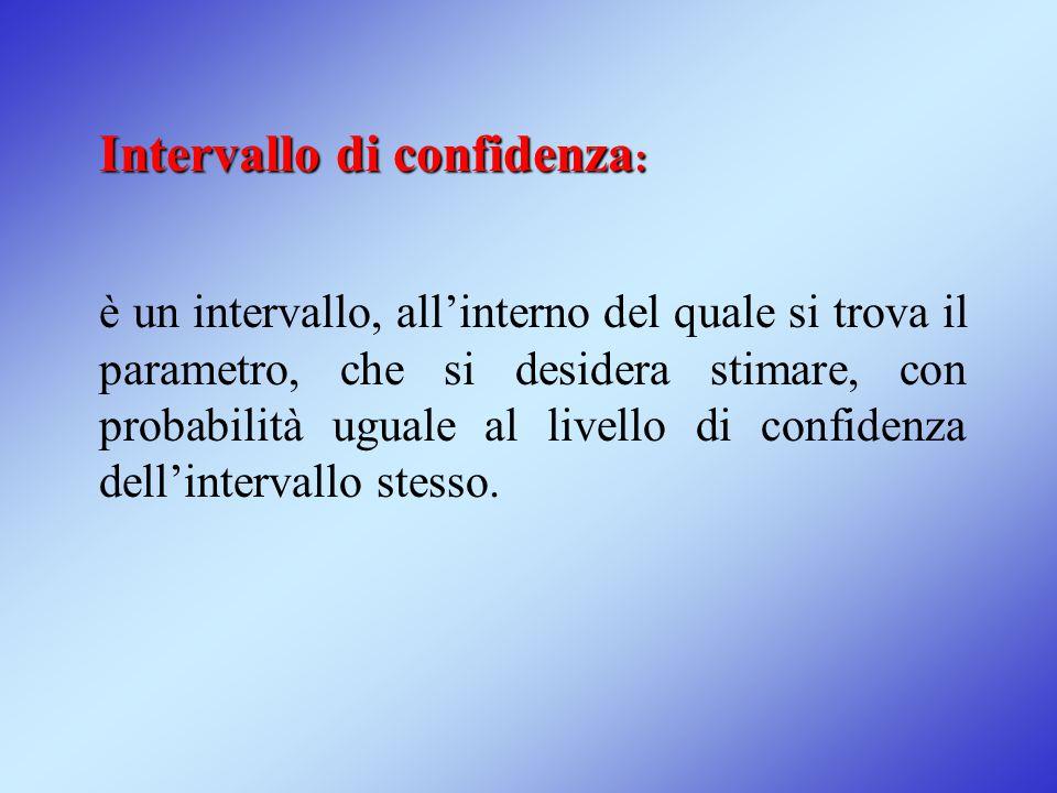 Intervallo di confidenza : è un intervallo, all'interno del quale si trova il parametro, che si desidera stimare, con probabilità uguale al livello di