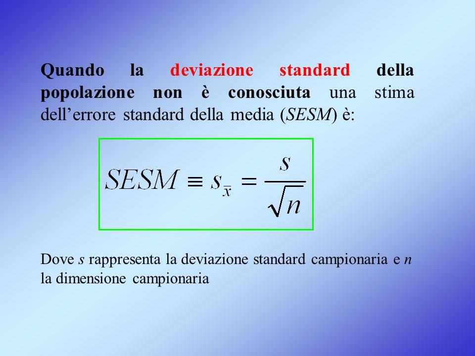 Quando la deviazione standard della popolazione non è conosciuta una stima dell'errore standard della media (SESM) è: Dove s rappresenta la deviazione