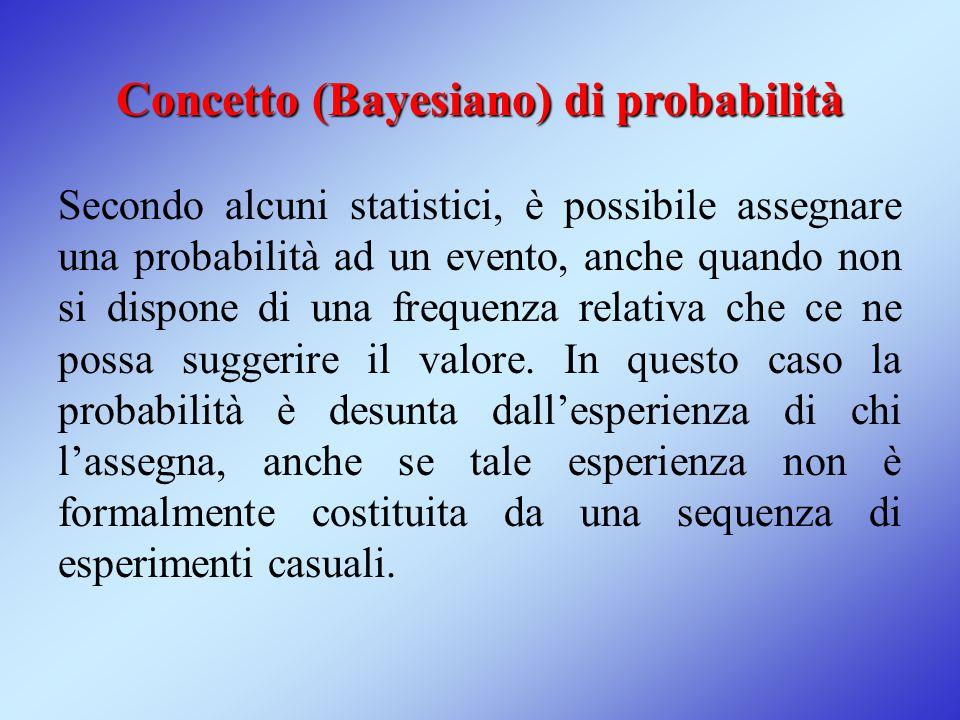 Concetto (Bayesiano) di probabilità Secondo alcuni statistici, è possibile assegnare una probabilità ad un evento, anche quando non si dispone di una