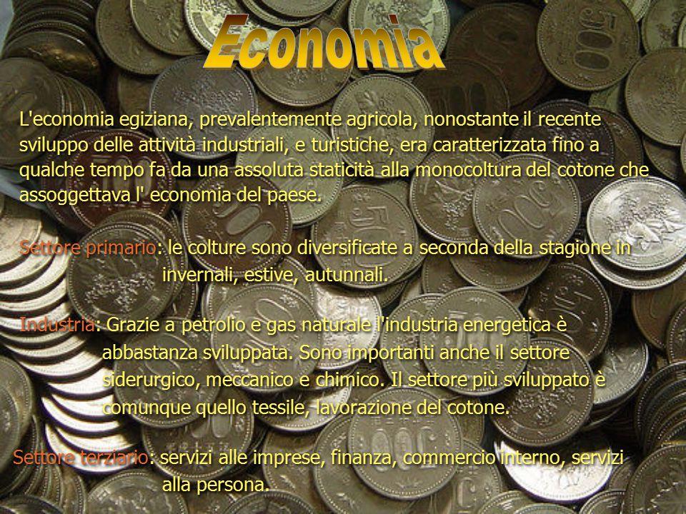 L'economia egiziana, prevalentemente agricola, nonostante il recente sviluppo delle attività industriali, e turistiche, era caratterizzata fino a qual