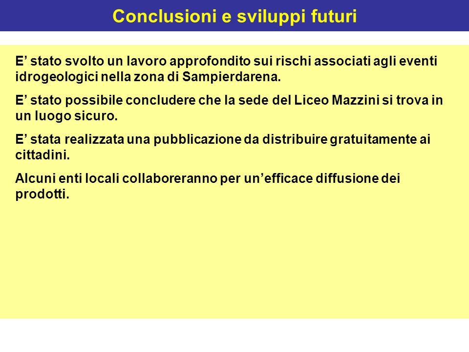 Conclusioni e sviluppi futuri E' stato svolto un lavoro approfondito sui rischi associati agli eventi idrogeologici nella zona di Sampierdarena. E' st