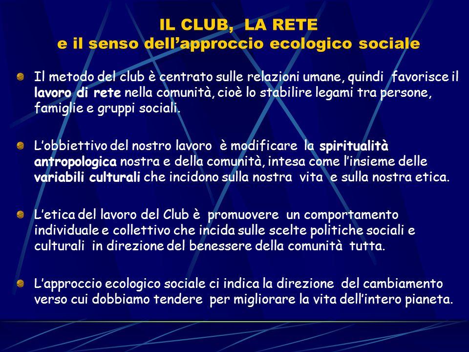 IL CLUB, LA RETE e il senso dell'approccio ecologico sociale Il metodo del club è centrato sulle relazioni umane, quindi favorisce il lavoro di rete n