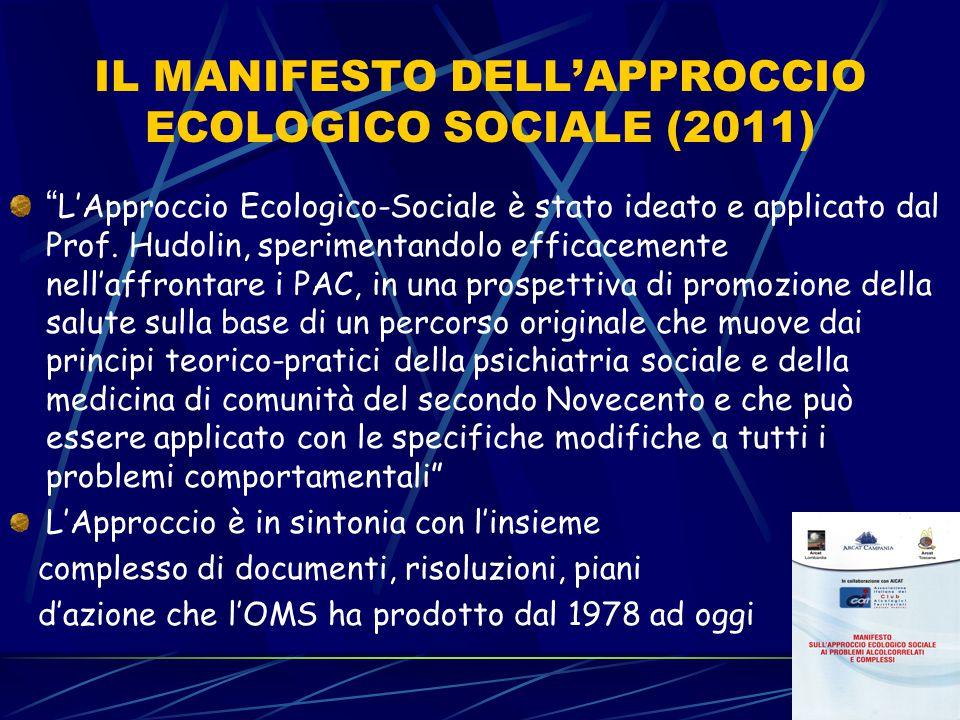 """IL MANIFESTO DELL'APPROCCIO ECOLOGICO SOCIALE (2011) """" L'Approccio Ecologico-Sociale è stato ideato e applicato dal Prof. Hudolin, sperimentandolo eff"""