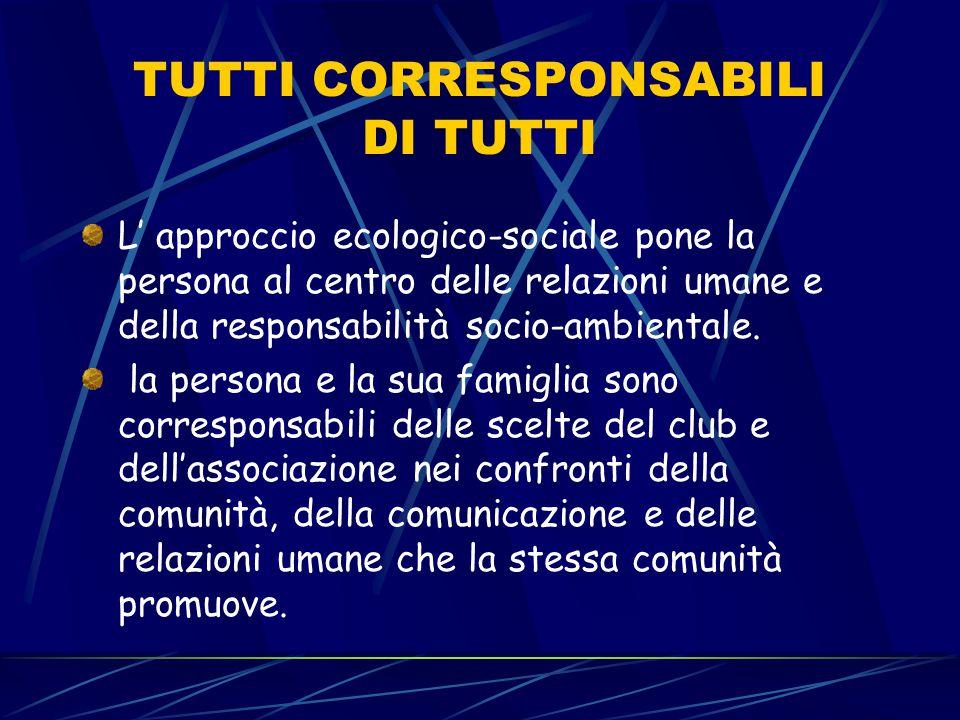 TUTTI CORRESPONSABILI DI TUTTI L' approccio ecologico-sociale pone la persona al centro delle relazioni umane e della responsabilità socio-ambientale.