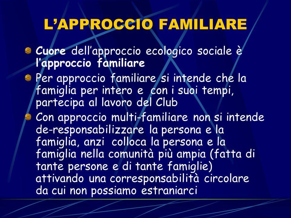 L'APPROCCIO FAMILIARE Cuore dell'approccio ecologico sociale è l'approccio familiare Per approccio familiare si intende che la famiglia per intero e c