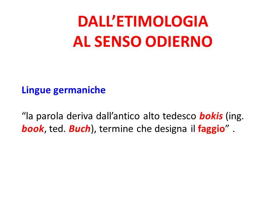 """DALL'ETIMOLOGIA AL SENSO ODIERNO Lingue germaniche """"la parola deriva dall'antico alto tedesco bokis (ing. book, ted. Buch), termine che designa il fag"""