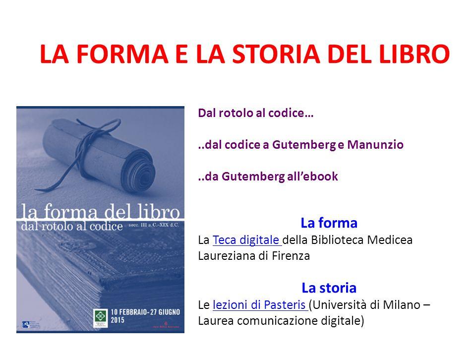LA FORMA E LA STORIA DEL LIBRO Dal rotolo al codice…..dal codice a Gutemberg e Manunzio..da Gutemberg all'ebook La forma La Teca digitale della Biblio