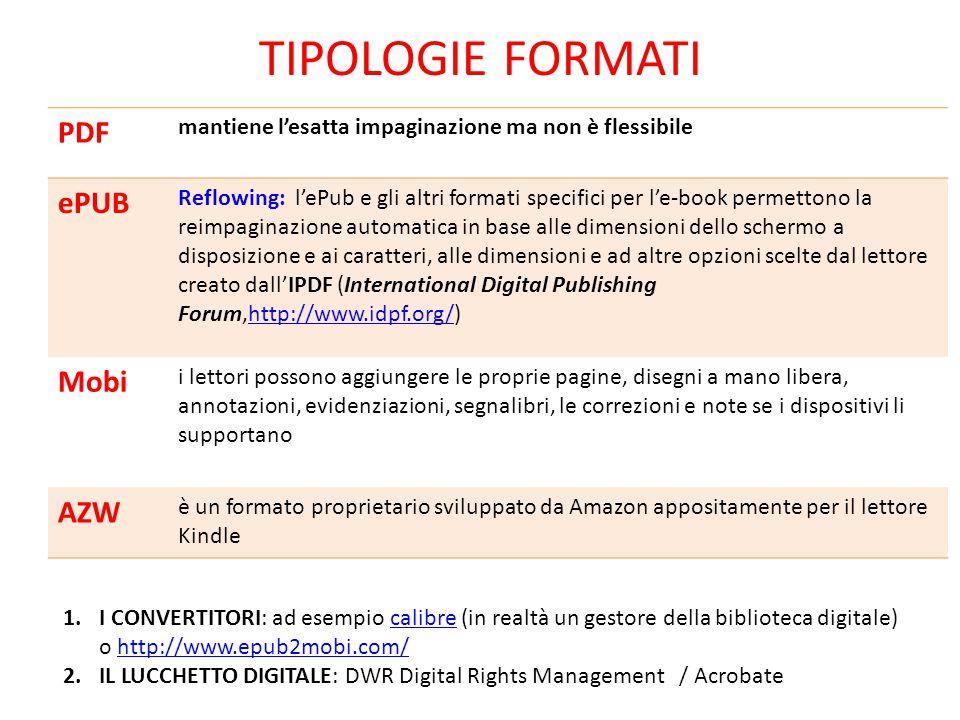 TIPOLOGIE FORMATI PDF mantiene l'esatta impaginazione ma non è flessibile ePUB Reflowing: l'ePub e gli altri formati specifici per l'e-book permettono