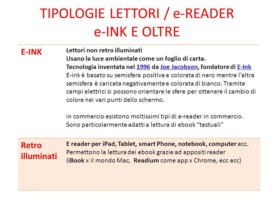 TIPOLOGIE LETTORI / e-READER e-INK E OLTRE E-INK Lettori non retro illuminati Usano la luce ambientale come un foglio di carta. Tecnologia inventata n