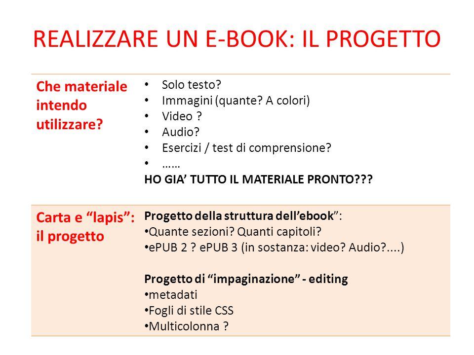 REALIZZARE UN E-BOOK: IL PROGETTO Che materiale intendo utilizzare? Solo testo? Immagini (quante? A colori) Video ? Audio? Esercizi / test di comprens