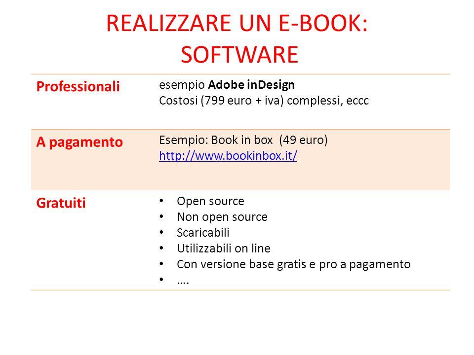 REALIZZARE UN E-BOOK: SOFTWARE Professionali esempio Adobe inDesign Costosi (799 euro + iva) complessi, eccc A pagamento Esempio: Book in box (49 euro