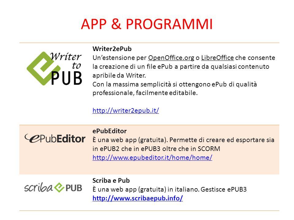 APP & PROGRAMMI Writer2ePub Un'estensione per OpenOffice.org o LibreOffice che consente la creazione di un file ePub a partire da qualsiasi contenuto