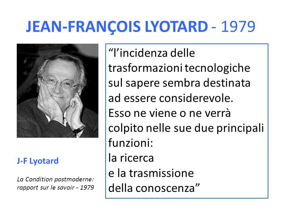 """JEAN-FRANÇOIS LYOTARD - 1979 """"l'incidenza delle trasformazioni tecnologiche sul sapere sembra destinata ad essere considerevole. Esso ne viene o ne ve"""