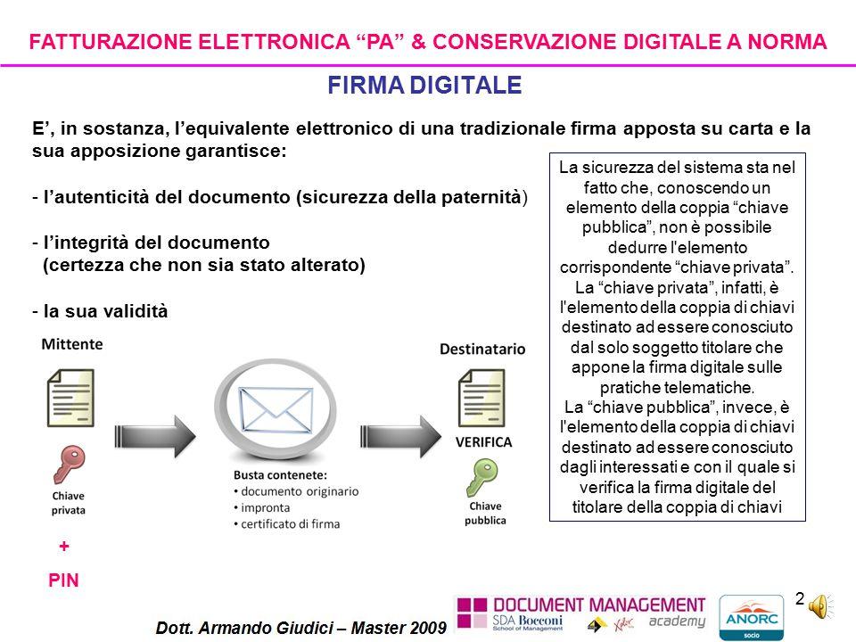 1 Firma Elettronica E' un insieme di dati in forma elettronica utilizzati come metodo di identificazione informatica.