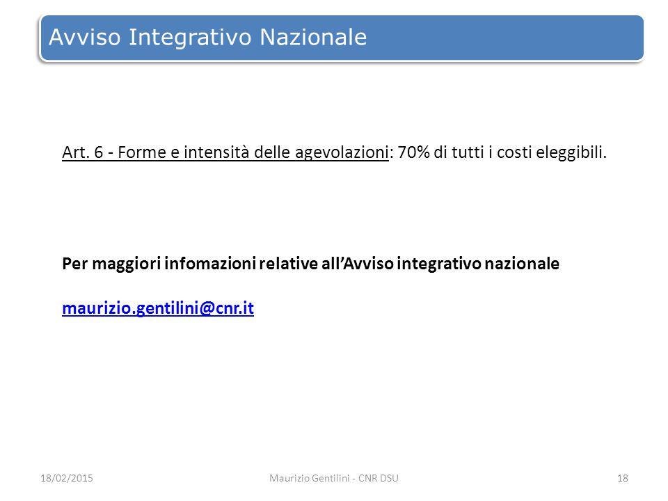 Avviso Integrativo Nazionale 18/02/2015Maurizio Gentilini - CNR DSU18 Art.