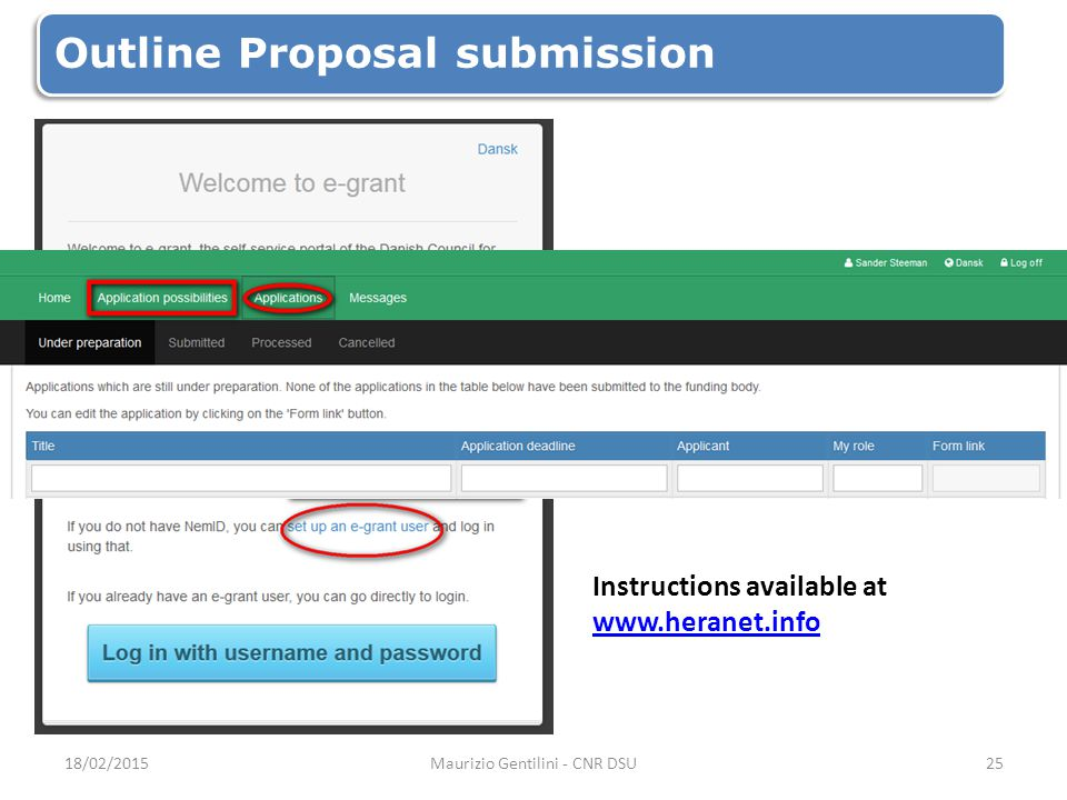 Outline Proposal submission Instructions available at www.heranet.info www.heranet.info 18/02/2015Maurizio Gentilini - CNR DSU25