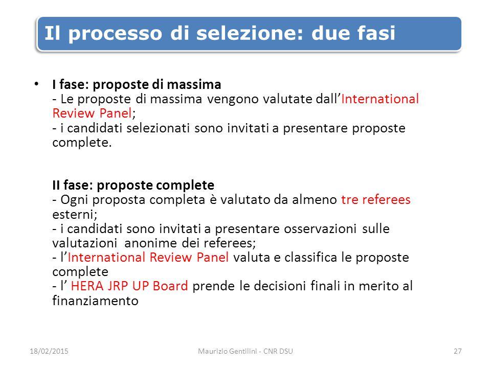 Il processo di selezione: due fasi I fase: proposte di massima - Le proposte di massima vengono valutate dall'International Review Panel; - i candidati selezionati sono invitati a presentare proposte complete.