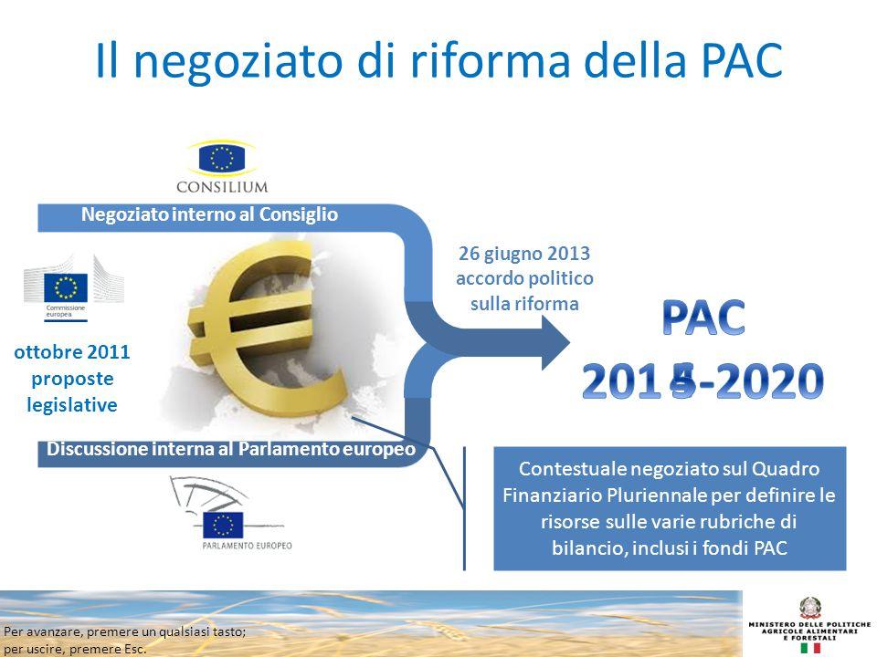 Per avanzare, premere un qualsiasi tasto; per uscire, premere Esc. Il negoziato di riforma della PAC ottobre 2011 proposte legislative 26 giugno 2013